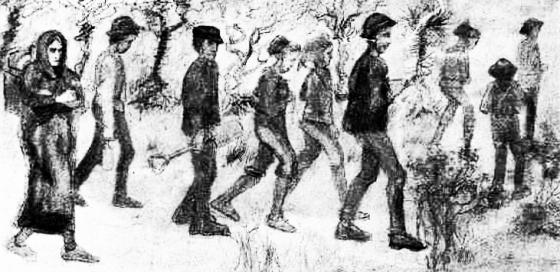 Van Gogh 'Miners' 1880 (detail)