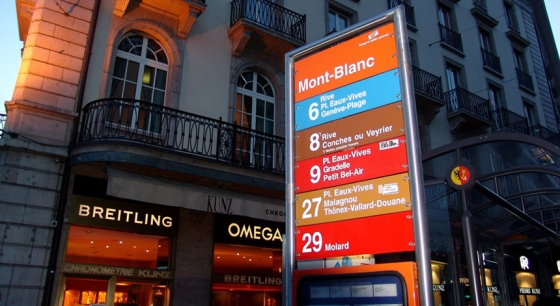Pointer to bus stop. Quay Mont Blanc. Geneva. Switzerland.