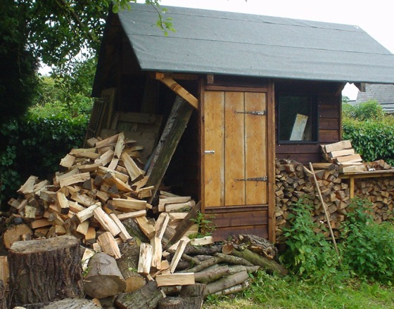 shed with logs